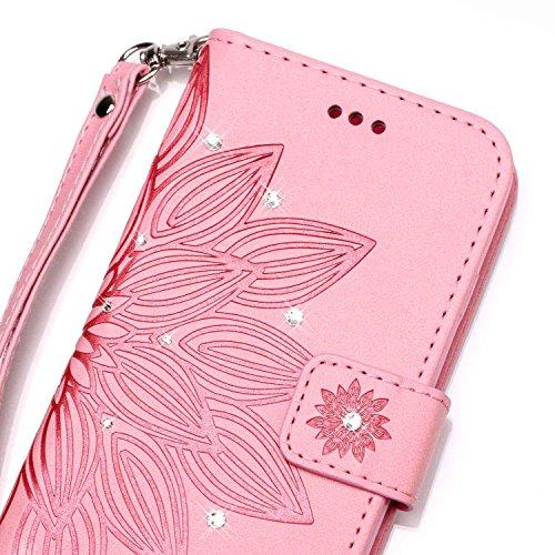 Custodia iPhone SE, iPhone 5S Cover, ikasus® iPhone SE/iPhone 5S Custodia Cover [PU Leather] [Shock-Absorption] Goffratura Embossing Floreale Fiore Cranio Campanula Modello Protettiva Custodia Cover c Fiore rosa