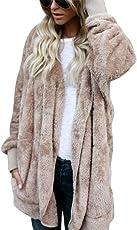 Damen Teddy-Fleece Mantel Kuscheliger Langer Fleecemantel Kapuzenpullover mit Kapuze