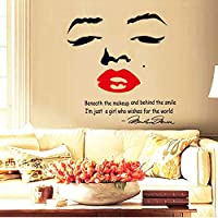 Sexy Women Red Lips 3d Wall Sticker Home Decor Marilyn Monroe Wall Decal For Living Room Wallpaper