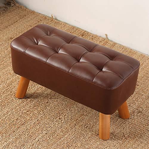 Bett Ende Bank (Haushalt Massivholz Schuhe Bank Leder Sofa Bank Bett Ende Hocker, Bekleidungsgeschäft Umkleidekabine Resthocker CQOZ (Color : Brown, Size : 60×33cm))