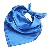 Heyjewels Seidenschal Seidentuch Bandana Halstuch Kopftuch aus Seide Unifarben 52 x 52cm (Blau)