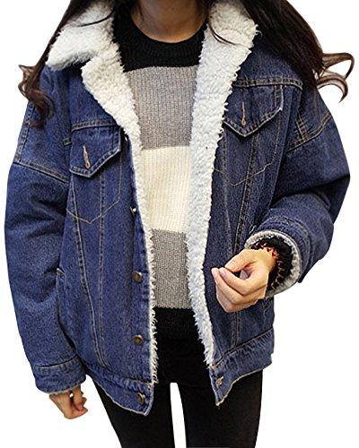 Minetom Damen Warm Wintermantel Winterjacke JeansJacken Blau DE 36
