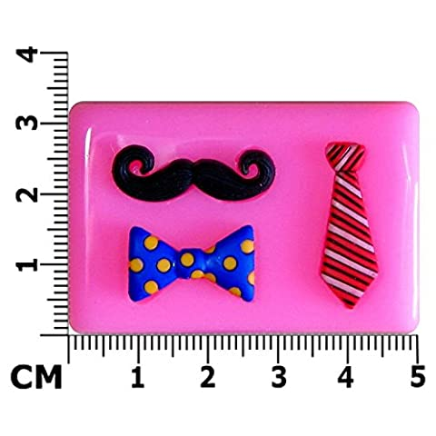 Moustache, Tie & Dickie Bow Silicone Mould Mold for Cake Decorating Cake Cupcake Toppers Icing Sugarcraft Tool by Fairie Blessings