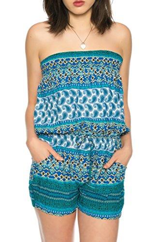 Dress Sheek Damen Jumpsuit Playsuit Sommer Luftig Mehrfarbig Trägerlos Gemustert Overall Kurz Schulterfrei Ärmel R252 - Blau