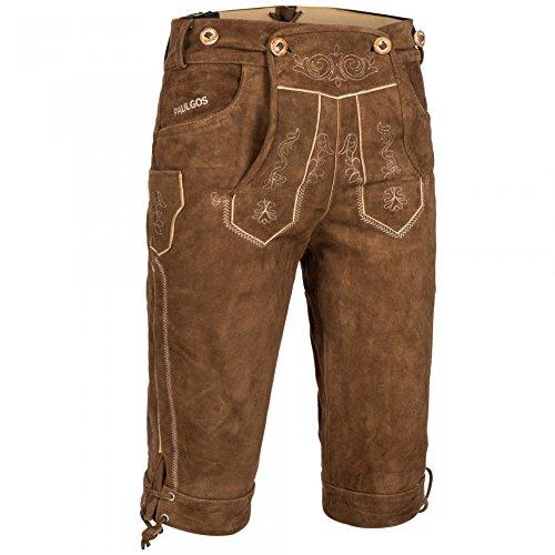 PAULGOS Herren Trachten Lederhose + Träger, Echtes Leder, Kniebund Übergröße in 3 Farben Gr. 62-72, Größe Lederhose:62, Farbe:Hellbraun