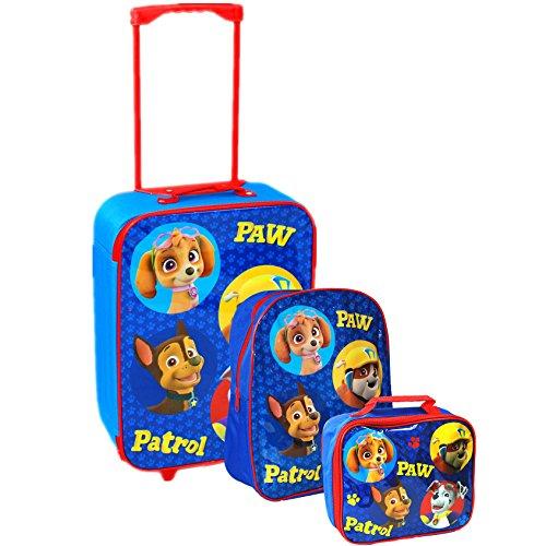 Nickelodeon ufficiale Paw Patrol® Bambini Scuola Viaggio Borsa Trolley bagagli, Zaino e Borsa Set Blue