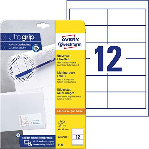 AVERY Zweckform 6123 Adressaufkleber (mit ultragrip, 97 x 42,3 mm auf DIN A4, Papier matt, bedruckbare, selbstklebende Adressetiketten, 120 Klebeetiketten auf 10 Blatt) weiß