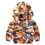 Logobeing Abrigo de Bebé para Niños Otoño Chaqueta Ropa de Abrigo Camuflaje Hoodie Sudadera con Capucha Cazadora (100, Orange)