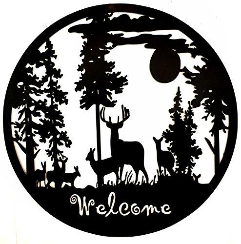 Rustikal Wildlife Dekor (Bellaa 21895Metall Wand Kunst, Hirsch Kabine Lodge Mountain Woodland Skulptur)