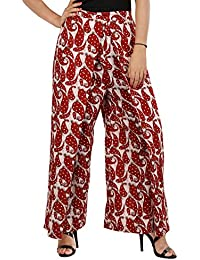 Fabstyle Cotton Designer Red Printed Palazzo For Women