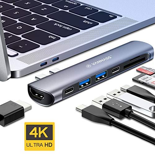 "VANMASS USB C Hub, USB C Adapter 7 in 1 USB-C Hub für Mac-Book Pro 2016/2017/2018 13\""&15\"" Mac-Book Air 2018 Alu Thunderbolt 3 Adapter mit 4K HDMI, 2 x USB 3.0, Type C Port, SD/TF Kartenleser Spacegrau"