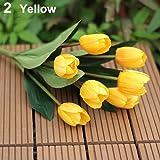 RYcoexs 1 Bouquet 9 Têtes Faux Tulipe Artificielle Fleur De Soie Bureau À La Maison De Mariage Décor Yellow