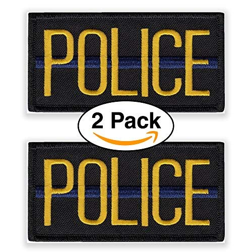 Officer Brust (Police Officer Patch Brust oder Schulter (2Stück) 10,2x 5,1cm bestickt gelb auf schwarz mit blau Streifen)