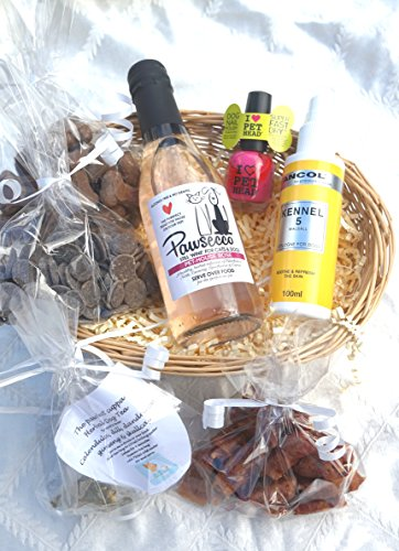 LUXURY GIFT WRAPPED DOG HAMPER FOR HER WITH HEART TAG, DOG WINE, DOG TEA, TREATS, PERFUME AND NAIL POLISH