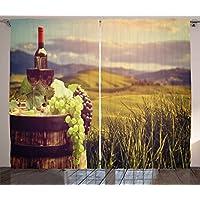 Wein Vorhänge Von Ambesonne, Italien Toskana Landschaft Ländlichen Vineyard  Ernte Trauben Drink Weinbau, Wohnzimmer
