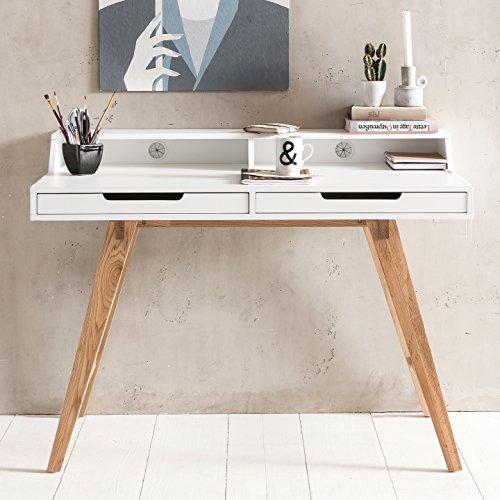 FineBuy Schreibtisch Scandi 110 x 85 x 60 cm MDF-Holz skandinavisch weiß matt Arbeitstisch | Design Laptoptisch mit Kabeldurchlass | Bürotisch mit Eiche-Beinen