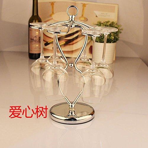 Xuanku Europäischen Stil Edelstahl Weinkelch Rack Umgedreht Glas Cup Frame Glas Wein Kreative Wohnzimmer Dekoration,Liebe Baum