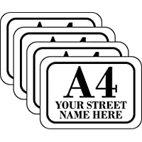 The Lazy Cow SET of 4 x Personalised wheelie bin tickers (4 Pack) printed with your street, road or house name