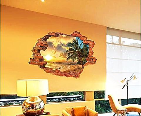 ufengke 3D Paysage Dehors de la Fenêtre Coucher de Soleil Vue Sur La Mer Stickers Muraux, Salle de Séjour Chambre À Coucher Autocollants Amovibles