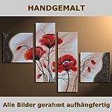 HANDGEMALT: 4 LEINWANDBILDER BILDER [MOHN 1] 80 x 50cm. Bilder auf Holzrahmen gespannt und und kann SOFORT aufgehangen werden!
