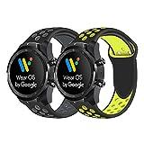 Ceston Sport Silicone Classique Bracelet De Remplacement pour Smartwatch TicWatch Pro (Noir + Gris & Noir + Jaune)