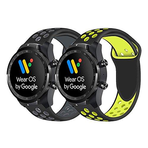 Ceston Sport Silicone Classica Cinturino per Smartwatch TicWatch PRO (Nero...