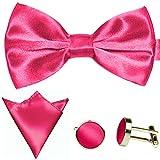 GASSANI 3-SET Pinkes Fliegenset | Fliege Manschettenknöpfe Einstecktuch | Pinke Rosa Schleife zum Anzug