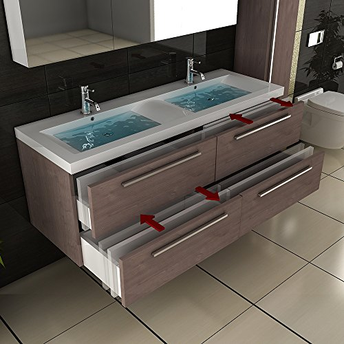 Badezimmer Möbel / Waschbecken / Doppelwaschtisch / Badmöbel / Unterschrank / Waschplatzlösung / Modell Garda-1440 / Farbe: Braun / Waschtisch - 2
