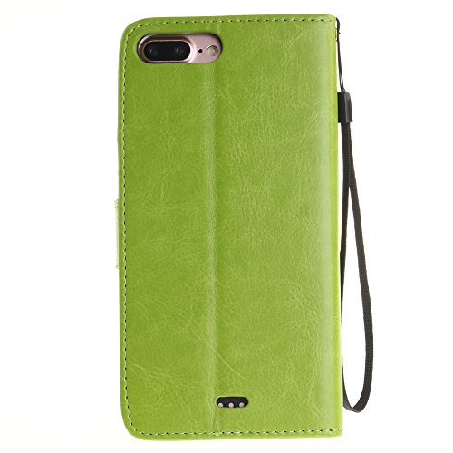 Premium PU Ledertasche, Embossed Blumen Löwenzahn Liebhaber Wallet Stand Case mit Handschlaufe für IPhone 7 Plus ( Color : Blue , Size : IPhone 7 Plus ) Green