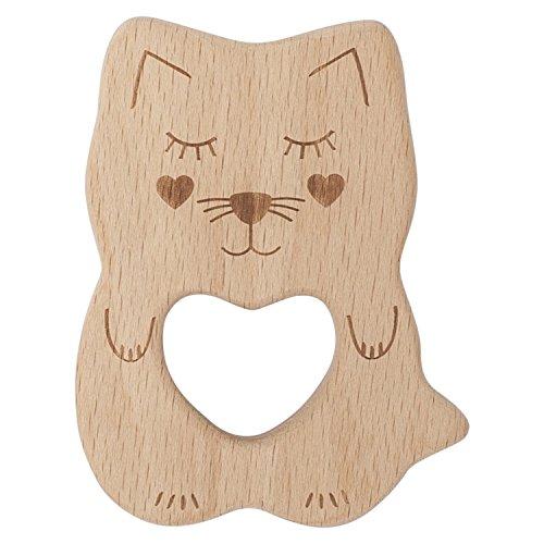 Kippins - Bio Beissring Aus Buchenholz - 100% Ungiftiges Greifling Aus Holz - Natürlich Hypoallergen - Für Babys Ab 3 Monaten (Kitty die Katze)