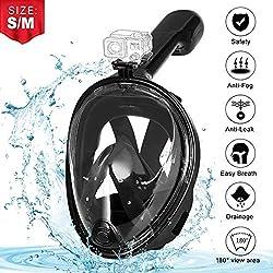 AGM Masque de Plongée, Masque de Plongée Panoramique Masque Snorkeling Plein Visage 180° Vue Masque Tuba Intégral Etanche Anti-Buée Anti-Fuite Enfants Adultes - Noir