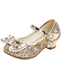 Disfraz Princesa Zapatos Zapatillas de Lentejuelas Antideslizante Niñas Zapatos de Tacón Zapatillas de Baile para Vestir Fiesta Cumpleaños Boda Infantil 26-38