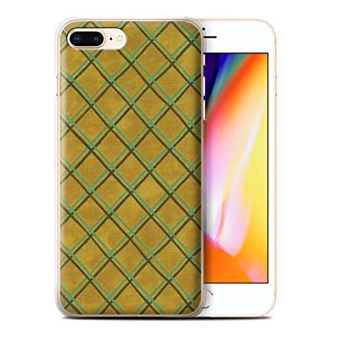 Stuff4 Hülle / Case für Apple iPhone 8 Plus / Blau/lila Muster / Kreuz Muster Kollektion Gelb