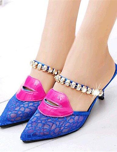 UWSZZ IL Sandali eleganti comfort Scarpe Donna-Scarpe col tacco / Ciabatte-Casual-Tacchi / Pantofole-A stiletto-Tulle-Blu / Dorato Blue