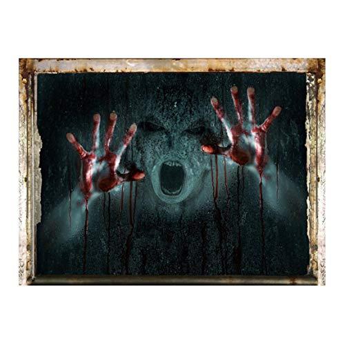ngshanquzhuyu verbesserte Version abnehmbare Wandaufkleber Halloween Dekorationen Zombie Geist gruselig Gesicht Wasserdicht Wandaufkleber für Home Dekoration - H01