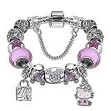MMTC Perlen Armband DIY Rosa Diamanten Kitty Katze Legierung Anhänger Schmuck Zubehör,2,20CM