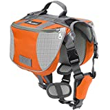 Pawaboo Hunde Rucksack Radtasche Hundetasche – verstellbar Haustier Katze Tragetasche Hundegeschirr Sicherheitsgeschirr mit Leinen für Outdoor, Reise, Camping, Wandern, M Größe, Orange & Grau