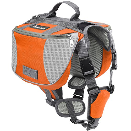ck Radtasche Hundetasche - verstellbar Haustier Katze Tragetasche Hundegeschirr Sicherheitsgeschirr mit Leinen für Outdoor, Reise, Camping, Wandern, M Größe, Orange & Grau ()