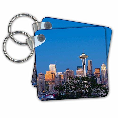 3dRose Schlüsselanhänger Washington, Staat, Seattle, Skyline Blick von Kerry Park, 2,25 Zoll, 2 Stück, 6 cm, variiert -