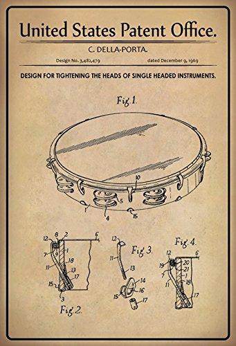 Us patente–design for stringere the heads of a singe head strumento–progetto per serrare la testina di teste di un singolo strumento–della porta–1969–design no 3.482479–targa in latta, metal sign, tin