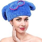 Gorros de ducha capucha de secado de pelo microfibra ultra absorbente capucha de secadora de cabello cap torre de secado rápido(Azul)