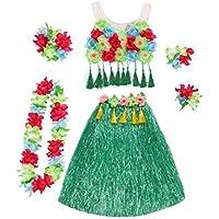 Amosfun Hawaii Tropical Hula Grass Baile Falda Flor Pulseras Head Loop Neck Wreath Set Traje de Rendimiento de Vacaciones de Verano