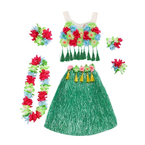 BESTOYARD Hawaii Tropical Hula Grass Dance Rock Blume Armbänder Kopf Schleife Hals Kranz Set Sommer Urlaub Beach Party Kostüm (80 CMstrock + Korsett + 4 (80 Beach Party Kostüme)