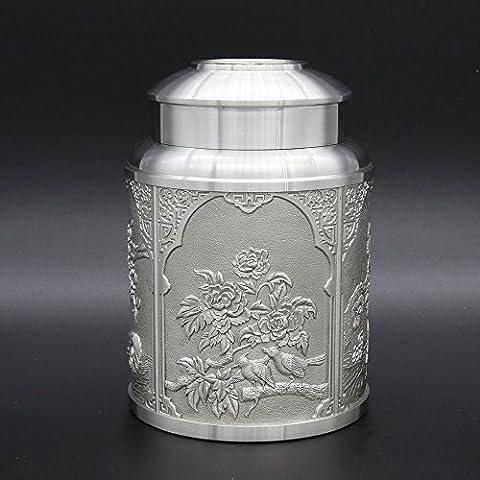Oriental Zinn–Zinn Tee Aufbewahrung, Caddy–handgeschnitzt Schöne geprägt mit traditioneller chinesischer verheißungsvollen Muster–-- & # X3010; & # X677E; & # x9e64; & # x5ef6; & # x5e74; & # X3011; & # X3010; & # x767d; & # x5934; & # x5bcc; & # x8d35; & # X3011; & # X3010; & # x6843; & # x82b1; & # x9e33; & # x9e2F; & # X3011; & # X3010; & # x559C; & # x4e0a; & # x7709; & # x68a2; & # X3011; Pure Dose 97% bleifreies Zinn handgefertigt in Thailand