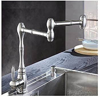 Amzh Kitchen Taps Stainless Steel Sink Faucet Vegetable Bowl Hot & Cold Single Hole Water Tap 360 Degree Rotation 3