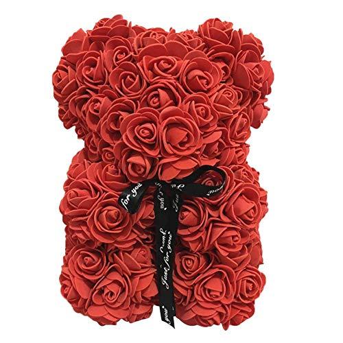 Rose Bear Doll Flower Toy - Rose Bär Puppe Blume Spielzeug Valentinstag Geburtstag Hochzeitstag Party Geschenk für Mädchen Frauen, 25 cm