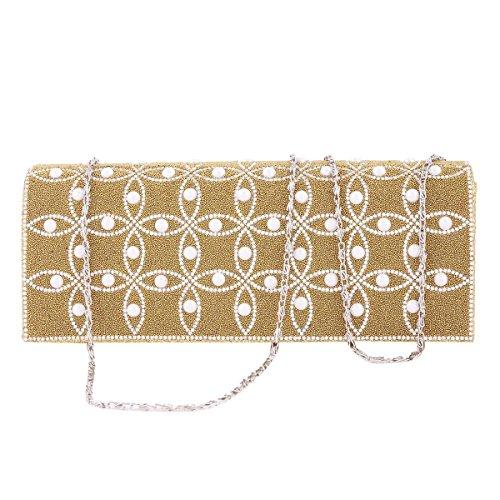 Damara® Damen Glänzende Crystal Handmade Perlen Abendtaschen Gold