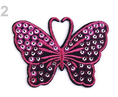 2stück 2 Carmine Rose Aufbügler Schmetterling Mit Pailletten, Aufbügler, Aufnäher, Flicken Und Reflex Zubehör, Kurzwaren -