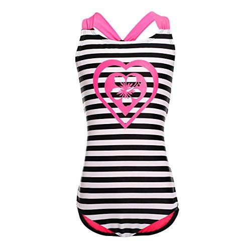 DAYU Mädchen Badeanzug Einteiler Badeanzug Bademode Kinder Beachwear -Schwarz-6-6X -