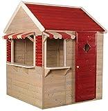 Wendi Toys M16 Beach Shop | Casa de jardín roja para niños | Casa Abierta de Verano con Ventanas, Puertas, persianas, toldos